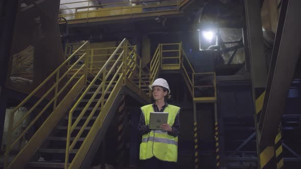 Thumbnail for Caucasian Female Engineer Working at Mineral Wool Plant