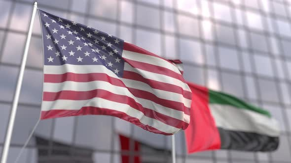 Waving Flags of the USA and the UAE