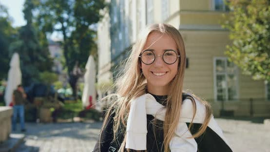 Thumbnail for Modern Young Blondie in Glasses Looking at Camera with Sincerely Smile
