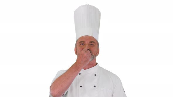 Male Chef Making Real Jam Gesture To Camera on White Background