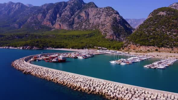 Panoramic Aerial View of Sailing Boats and Yachts Anchored in Turquoise Sea Bay