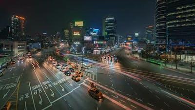 Seoul's city traffic at night