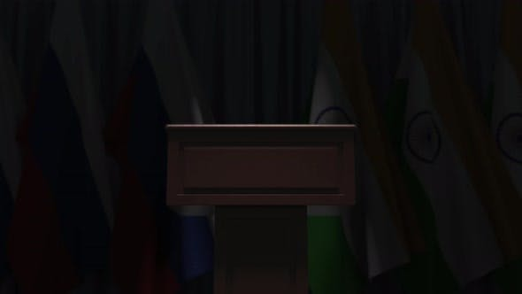 Row of Flags of India and Russia and Speaker Tribune