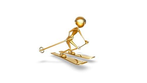 Gold Man 3D Character - Cartoon Skier