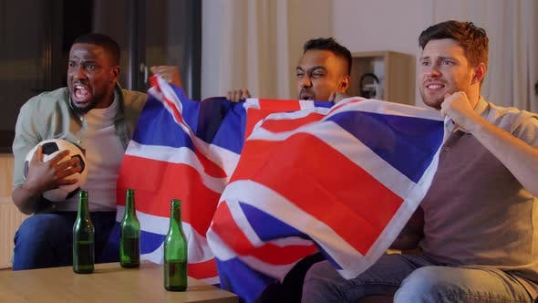 Thumbnail for Friends with British Flag Watching Soccer at Home