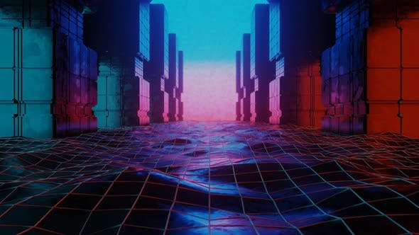 Thumbnail for Retro Abstract Futuristic Abstract Tunnel in Cyberspace