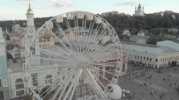 Thumbnail for Ferris Wheel in Kyiv, Ukraine. Aerial View