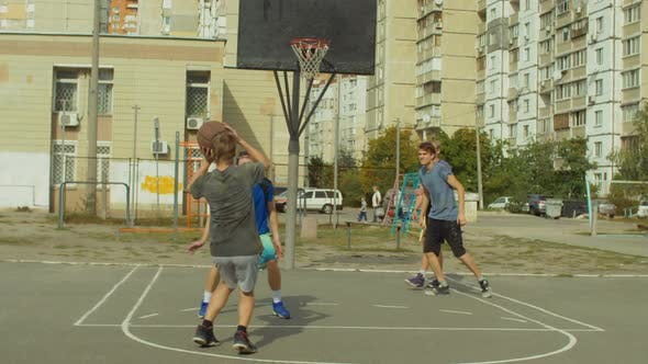 Thumbnail for Streetball Player Taking a Set Shot on Court