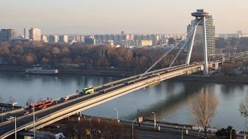 Timelapse of SNP Bridge in Bratislava