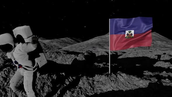 Thumbnail for Astronaut Planting Haiti Flag on the Moon