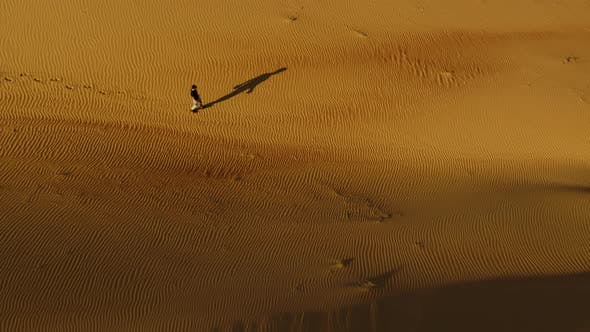 Thumbnail for Aerial view above of a man walking alone in the dunes of Sharjah desert, U.A.E.