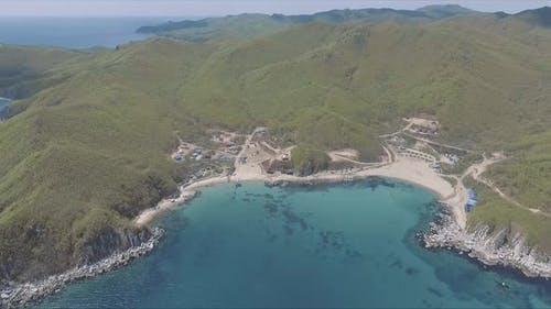 Aerial Shot of Exotic Tropical Ocean Coast on Sunny Day