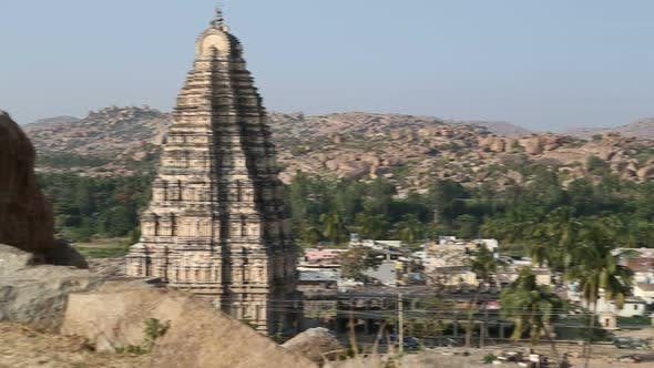 View of the village and famous Virupaksha Temple in Hampi.