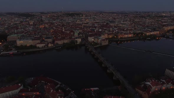 Thumbnail for Aerial View of Prague and Charles Bridge in the Dusk