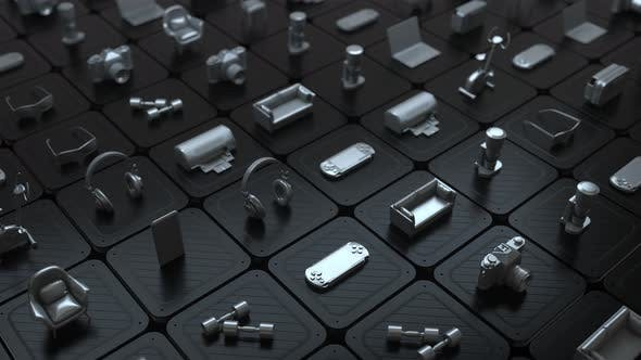 Abstract isometric 3d animation with black and chrome background