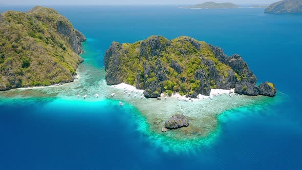 Thumbnail for Aerial Drone Footage of Shimizu Island From Distance in El Nido, Palawan, Philippines