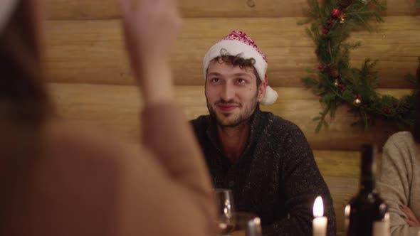 Thumbnail for Men having fun at a Christmas dinner