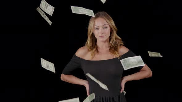 Attractive Woman With Money Falling Around Her