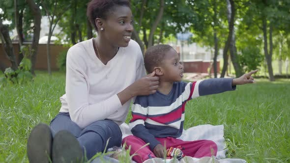 Thumbnail for Attractive African American Woman Sitting on the Blanket with Her Little Son