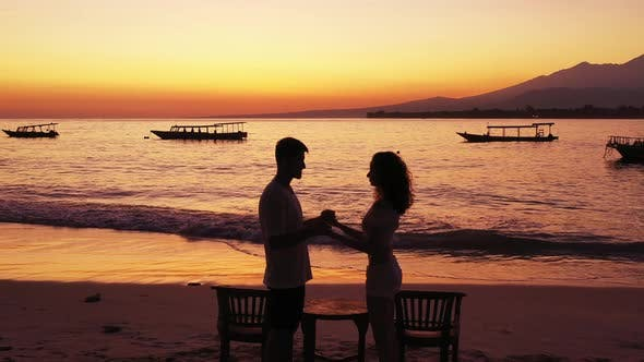 Thumbnail for Romantic People on Honeymoon Vacation Spend Quality Time on Beach on White Sand