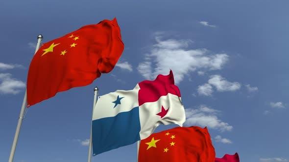 Row of Waving Flags of Panama and China