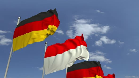 Thumbnail for Flags of Indonesia and Germany Against Blue Sky