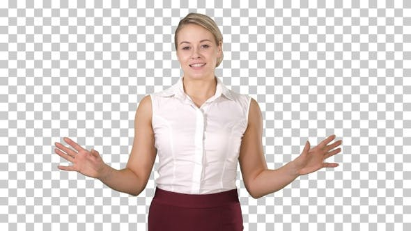 Thumbnail for Happy charming european woman smiling broadly at camera and