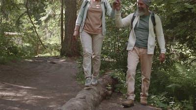Happy Old Couple Walking