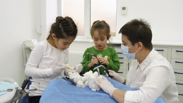 Thumbnail for Dentist teaching girls how to treat patients