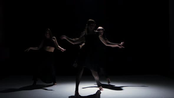 Thumbnail for Contemporary Dance Moves of Three Dancers on Black, Shadow