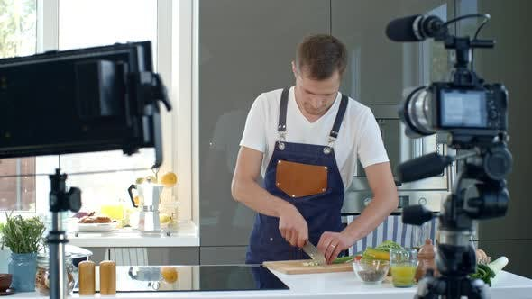 Cover Image for Chef Cutting Vegetables for Cooking Vlog