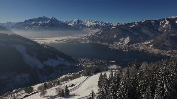 Thumbnail for Aerial shot of Zeller See on a winter day