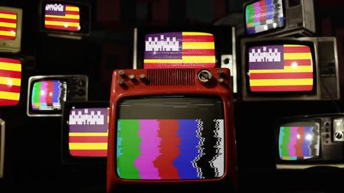 Flag of the Balearic Islands, Spain, and Retro TVs.
