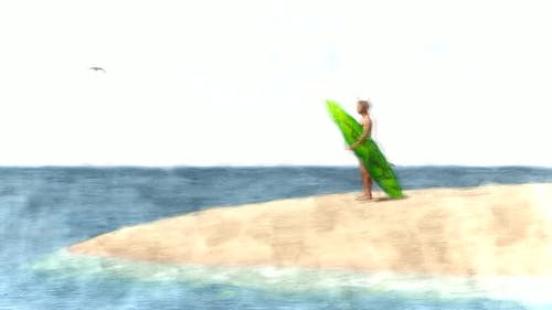 Surfer Man on the Beach Stop Motion