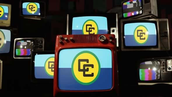 Thumbnail for Flag Of CARICOM (Caribbean Community) and Retro TVs.