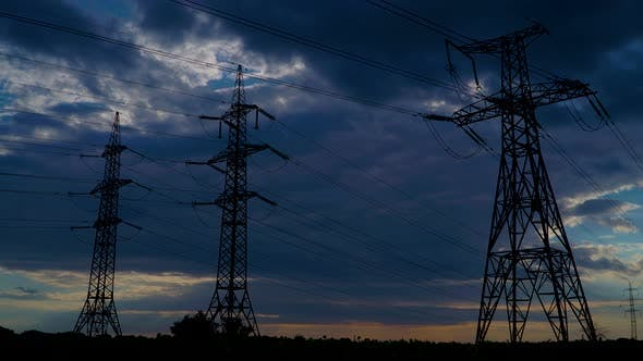Thumbnail for Timelapse of Electricity Pylons and Moving Clouds