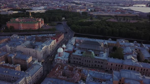 Thumbnail for Aerial View of Saint-Petersburg, Russia. Old Central City High Point View, Summer Evening.