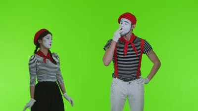 Mimes Smoke On A Green Background, Mimes Actors On Green Background