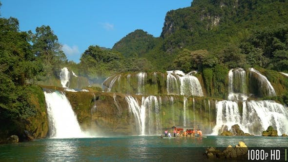 Thumbnail for Ban Gioc Waterfall with Tour Boat in Slow Motion