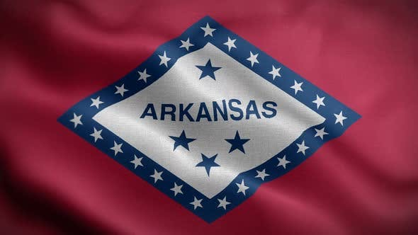 Arkansas State Flag Blowing In Wind