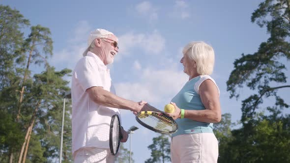 Thumbnail for Positive Smiling Mature Couple After Playing Tennis on the Tennis Court Shaking Hands