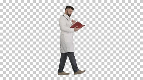 Thumbnail for Doctor reading a book or a journal while walking, Alpha Channel