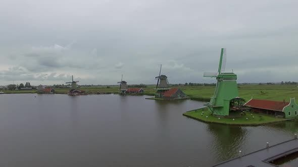 Thumbnail for Riverside Windmills and Green Field, Aerial View