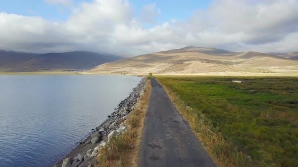 Flying on the Lake Side Road in Cildir Ardahan, Kars