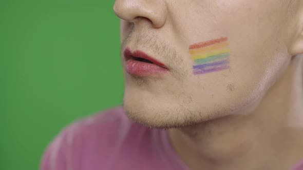 Cover Image for Bearded Man with Painted Lips Making a Kiss. LGBT Community. Transsexual