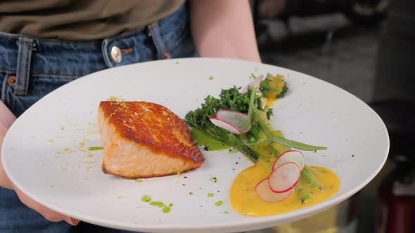 Thumbnail for Roasted Grilled Salmon Steak with Broccoli Vegetables. Fish Meal with Fresh Vegetable in Modern