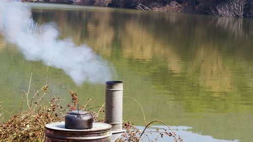 Wood Stove And Tea Kettle In Nature 1