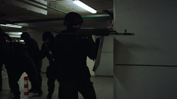Police Squad Investigating Building