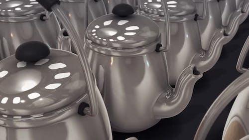 Multiple Vintage Large Aluminum Tea Pot Kettle Stove Top In A Row Hd