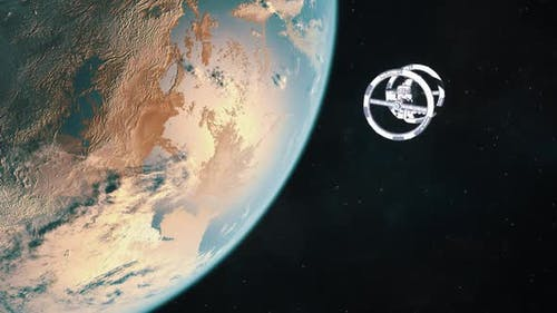 Futuristic Space Station in Orbit of an Exoplanet